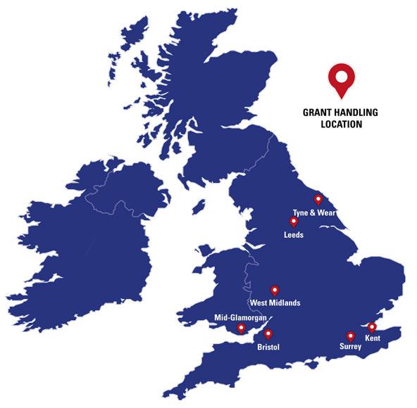 Grant Handling Locations Map